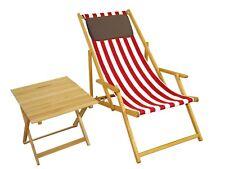 Chaise de Jardin Rouge-Blanc Lit Soleil Plage Longue Table Coussin 10-314 Ntkd