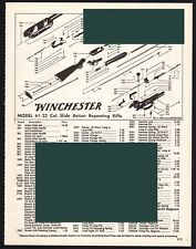 1995 WINCHESTER Model 61 Slide Action .22 Repeating Rifle Parts List AD