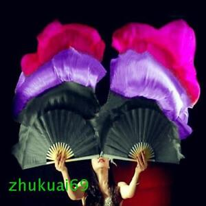 100% silk thick veil belly dance fan a pair of left+right 5ft/6ft(1.5m/1.8m)long