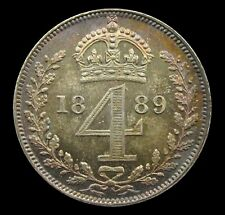 More details for victoria 1889 silver maundy fourpence - gef