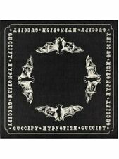 New Authentic GUCCI HYPNOTISM BAT Printed Black 100% COTTON Square Scarf
