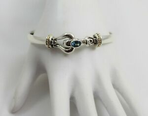 Sterling Silver & 14K Yellow Gold  Oval Aquamarine Hinged Bracelet by Kabana