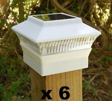 """6  Solar Fence Post Cap Lights 3 5/8"""" x 3 5/8"""" for 4x4 Wood Posts Only wd White"""