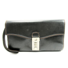 dunhill Clutch Bag Leather  Used Auth T10094