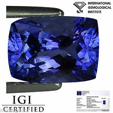 2.09 Ct IGI Certified AA+ Natural D Block Tanzanite Blue Violet Cushion Cut