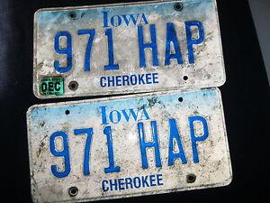 Vintage pair 2001 Iowa Cherokee 971 HAP License Plates