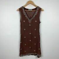 Alannah Hill Womens Dress Size 8 Brown Embellished Sequin 100% Silk Gorgeous
