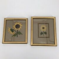 """Finished Sunflower Cross StitchFramed Set of 2 Small 7""""x7"""" Yellow Gold Flowers"""