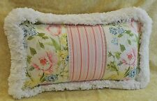 Pillow made w Ralph Lauren Home Lake Floral & Summer Cottage Pink Stripe Fabric