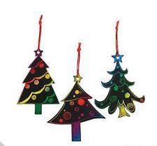 3 Christmas Tree Scratch Art Ornaments Kits Craft Kids