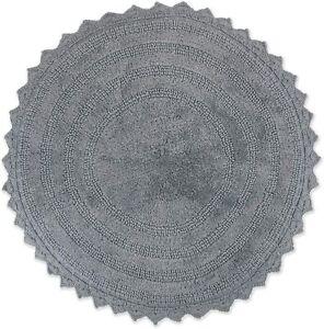 Reversible Ultra Soft Crochet Bath Mat Round Gray 100% Cotton
