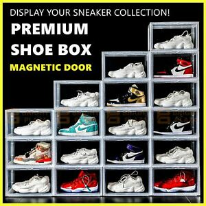 Premium Sneaker Display Shoe Box Storage Case Clear Plastic Boxes Side Stackable