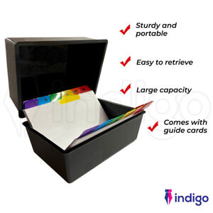 Office Index Record Card Box Filing Box With Coloured Guide Record Cards - BLACK