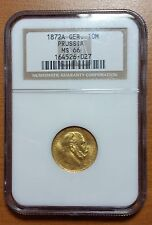 1872 A Germany Prussia Gold 10 Mark NGC MS66 1872A