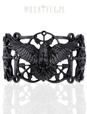 Restyle Raven Bracelet Pagan Bangle Black Gothic Crow Cuff Runes Occult Jewelry