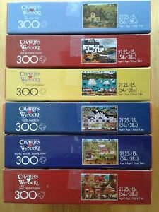 Lot of 6 Large Size 300 Piece Charles Wysocki Puzzles Buffalo Games ALL COMPLETE