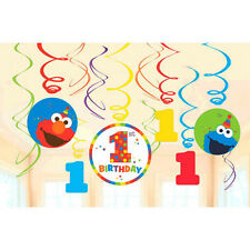 Sesame Street 1ST Birthday Party Supplies Elmo Turn One SWIRL DECORATIONS Pack