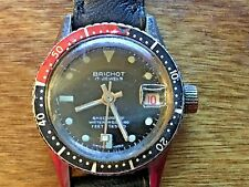 Vintage Brichot Divers Watch Swiss 17 Jewels Date & Time - Works - Leather Strap