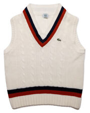 Vintage IZOD LACOSTE V-Neck Cable Knit Tennis Sweater Vest White Red Medium M