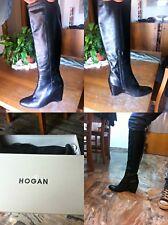 Stivali Hogan Neri vera pelle n.39 1/2 vintage zeppa 8 cm Fuori Produzione