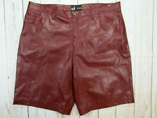 Mens Leather Shorts Burgundy Red Genuine Leather NWT 44 Waist BigTall Poly Lined
