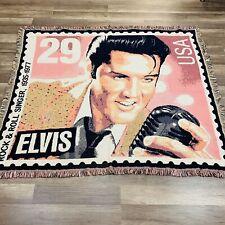"Elvis Presley Throw Blanket Goodwin Weavers 56"" X 48"" Pink & Black Mint"