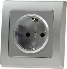CT21106 DELPHI silber: UP-Schutzkontakt-Steckdose für Unterputz