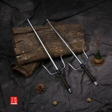 Chinese traditional weapon stainless steel short fork weapon.