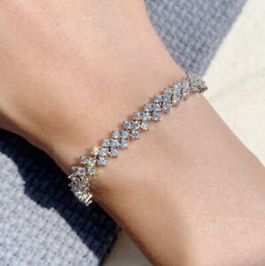 2021 Tennis Chain Womens Charm Diamond Crystal 18ct White Gold Plated Bracelet