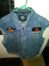 Genuine Harley Davidson Biker Blue Jean Jacket  Men's 2XL Sleeveless.Very Nice