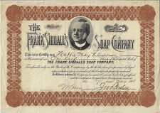 NEW JERSEY  1908, The Frank Siddall's Soap Company Stock Certificate