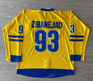 2002 Mika Zibanejad #93 Team Sweden Hockey Jerseys Stitched Custom Names