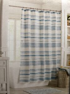"Threshold 100% Cotton Blue Stripe White Shower Curtain 72"" x 72"" - NEW Fast Ship"
