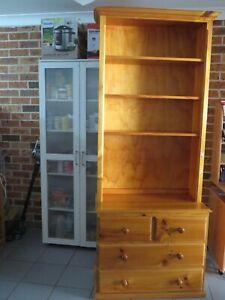 Pine book shelf storage with 4 drawers, 210cm x 86 cm