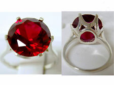 10ct 13mm red ruby 925 sterling silver ring size 7 USA made