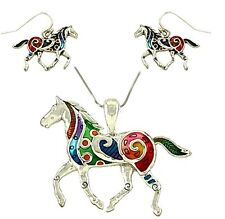 """Colorful Horse Pendant and Earrings Set with 24"""" Chain Gift Boxed Fast Shipping"""