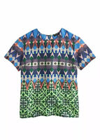 J Crew Women's Size 6 Short Sleeve Gamestone Silk Blouse