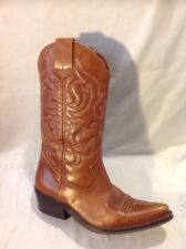Office Brown Mid Calf Leather Boots Size 37