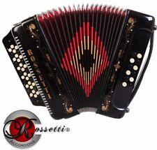 Rossetti 3412 34 Button 3 Switch 12 Bass GCF Sol Accordion - Black + Case Straps