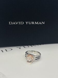 David Yurman Sterling Silver Petite Morganite & Diamond Wheaton Ring Size 7