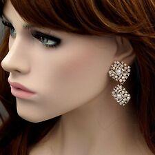 18K Gold Plated Pearl Clear Crystal Rhinestone Wedding Drop Dangle Earrings 8885