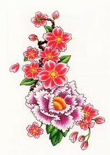 Temporary Tattoo, Einmal Tattoo  Bullseye BUFFG-10, rote / violette  Blumen