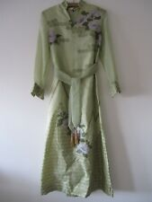 Alfred Shaheen Hawaii Mandarin Collar Organza Organdy Melon Peony Green Dress 6
