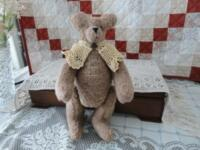 OOAK Handmade CANADA ARTIST Button Jointed BEAR with Lace Shawl