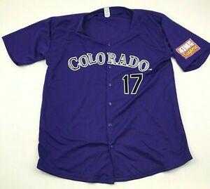 NEW VINTAGE Todd Helton Colorado Rockies Baseball Jersey Size Extra Large Purple