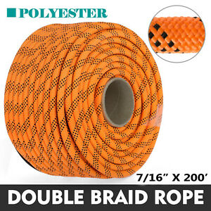 """200' Double Braid Polyester Rope Rigging Rope 7/16"""" 8400lbs Breaking Strength"""