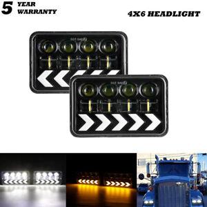 "4x6"" LED Headlights For Chevrolet Caprice Camaro Impala T6500& Peterbilt 357 379"