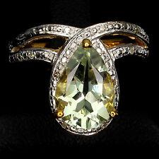 Ring Prasiolith Diamant 925 Silber 585 Gelbgold Weißgold Gr. 54