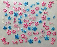 Accessoire ongles : nail art - Stickers autocollants - fleurs bleues et roses