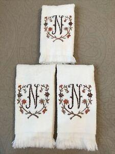 "3 VTG Ivory Avanti Fingertip Towels•Letter""N""Embroidery Flowers•Brown/Orange•USA"